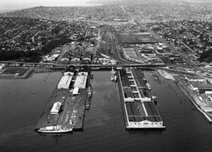Aerial of Piers 90 and 91, U.S. Navy owned